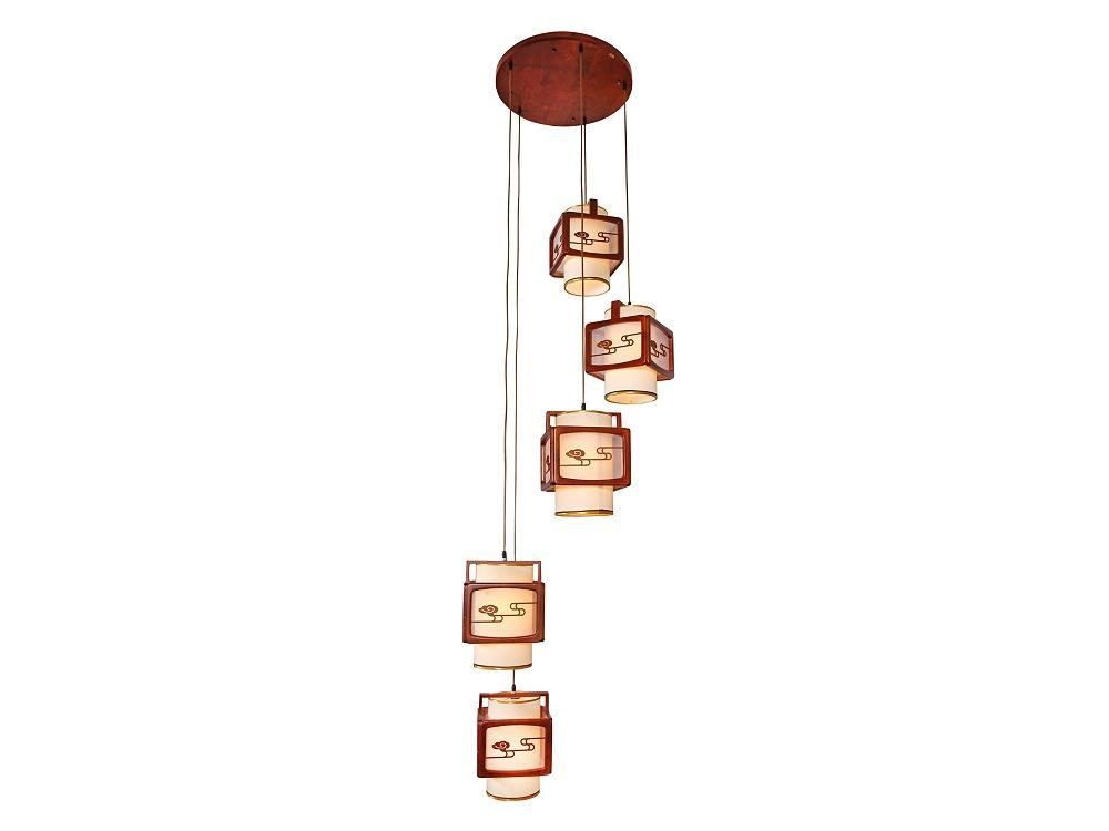 伊美特-传统中式橡木吊灯茶楼灯M8520/5