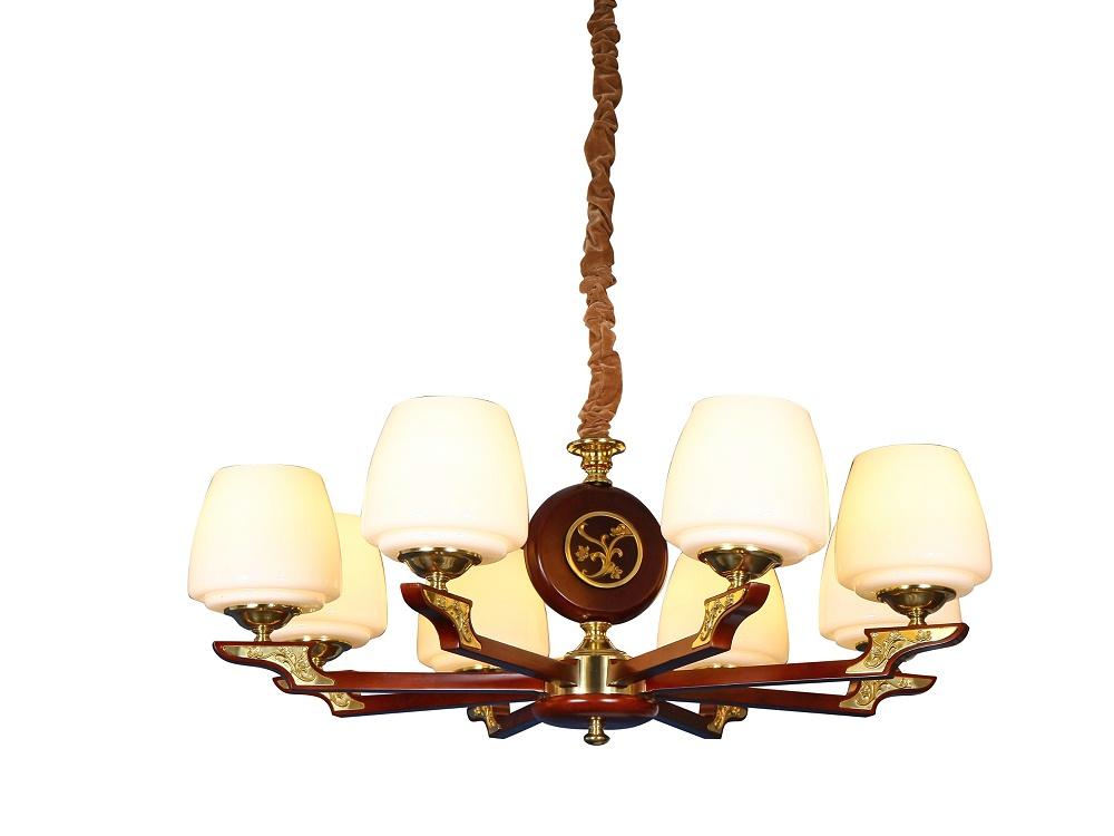 伊美特-新中式铜+木吊灯Y96027