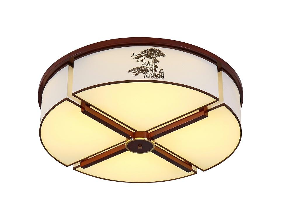 橡木中式灯吸顶灯-迎客松