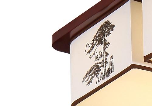 伊美特-橡木中式灯吸顶灯-迎客松
