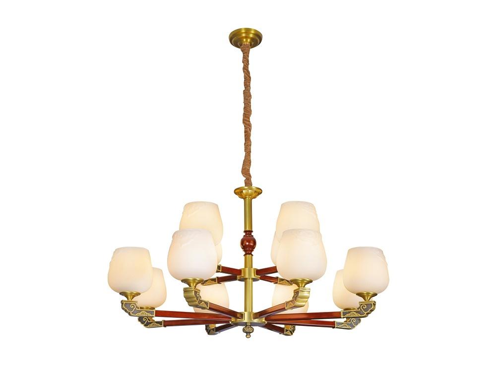 伊美特-新中式铜+木吊灯Y96037/8+4