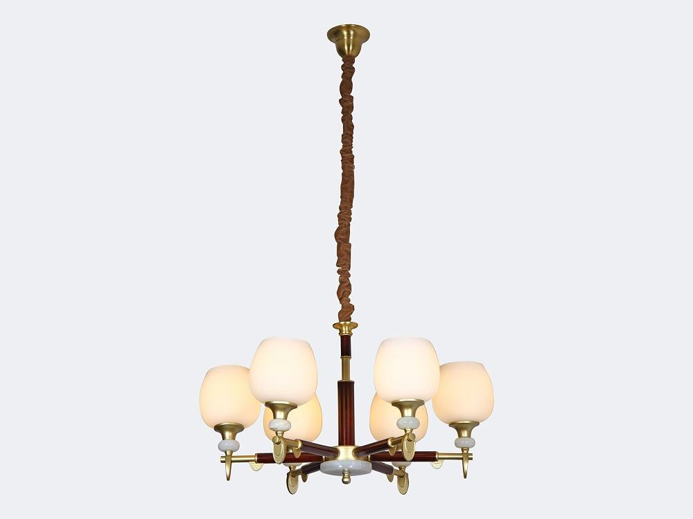 伊美特-新中式铜+木吊灯Y96030/6