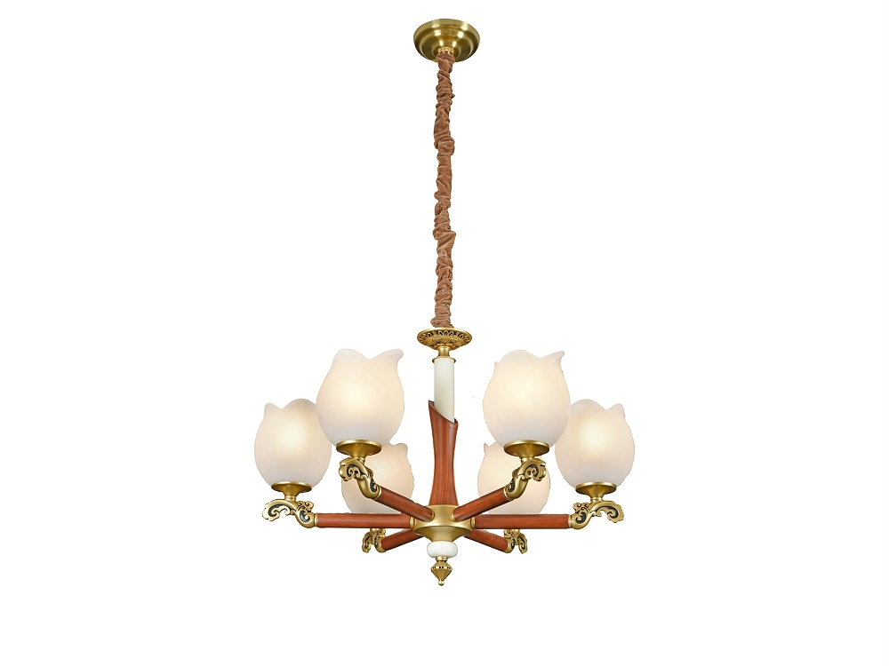 伊美特-新中式铜+木吊灯Y96035