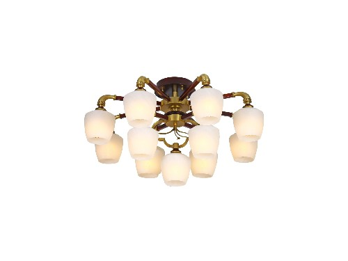 伊美特-新中式铜+木餐厅灯Y96028