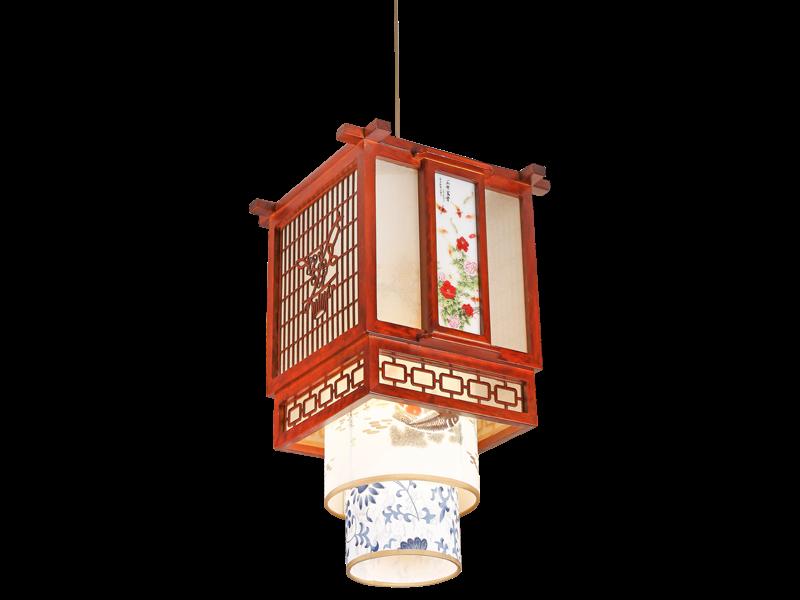 传统中式桤木吊灯茶楼灯CF8307-1