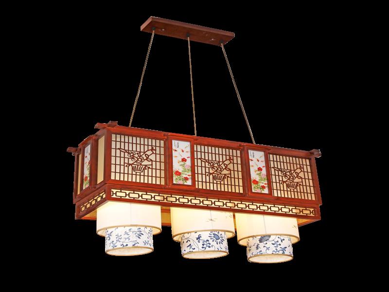传统中式桤木吊灯茶楼灯CF8307-3