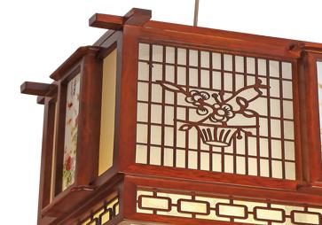 伊美特-传统中式桤木吊灯茶楼灯CF8307