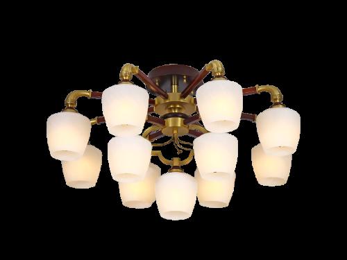 伊美特-新中式铜+木吊灯餐吊灯Y96028